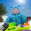 Little cute toddler on snow day — Stock Photo