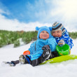 Two little boys on winter days — Stock Photo