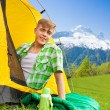 Young man on sleeping bag — Stock Photo