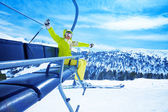 Enjoying mountain skiing — Stock Photo
