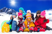 Large group of kids on winter day — Stok fotoğraf