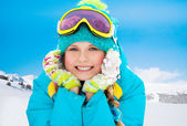 Mountain skier girl — Stock Photo