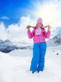 Blond girl on winter day — 图库照片