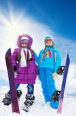 Great day for snowboards — Stock Photo