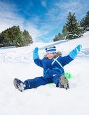 я так счастлива с снег otside — Стоковое фото