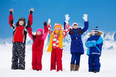 Friends happy on snow day — Stock Photo