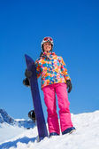 Happy snowboarder woman — Stock Photo
