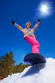 Cool snowboard woman — Stock Photo