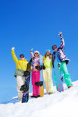 Group of snowboard friends — Stock Photo