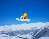 Snowboarder fresco en el aire — Foto de Stock
