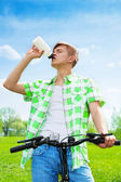 Thirsty after a ride on hot day — Stock Photo