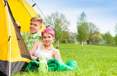 Couple in the tent — Stock Photo