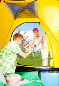 Morning drink to tent — Stock Photo