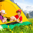 Girls in tent — Stock Photo #28480281