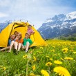 Kids in tent — Stock Photo