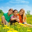 Three happy kids in the field — Stock Photo