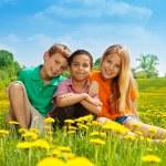 Three happy kids in the field — Stock Photo
