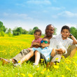 Stock Photo: Father with happy family