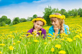 Two smiling girls wearing flower wreath — Stock Photo