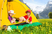 Girls in tent — Stock Photo