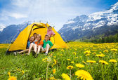 Kids in tent — Stock Photo