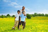 Father with two sons — Stock Photo