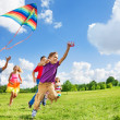 Active games with many kids — Stock Photo
