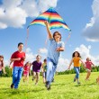 Active games for many kids — Stock Photo #32010347