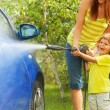 Little boy was the car — Stock Photo