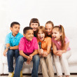 Group of kids singing — Stock fotografie