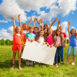 Many kids with white board — Foto Stock