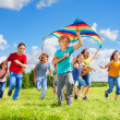 Boys and girls with kite — Stock Photo