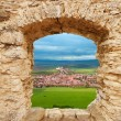 Stock Photo: Loophole in castle and Spis hrad