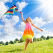 Teenage girl with kite — Stock fotografie