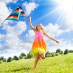 Teenage girl with kite — Stock Photo