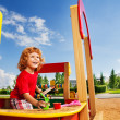 boy in sandbox — Stock Photo