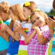 Kids with phones — Stock Photo