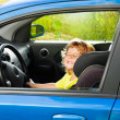 Little boy play big driving — Stock Photo