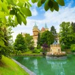 Bojnice castle view from park — Stock Photo