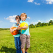 Two boys with ball — Stock Photo