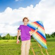 Boy stand with kite — Stock Photo