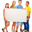 Group of kids with advertising — Stock Photo