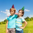 Stock Photo: Boys making noise on birthday party