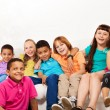 Large group of cute kids at home — Stock Photo