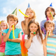 Many kids on birthday party — Stock Photo