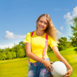 Girl with the ball — Stock Photo