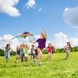 Kite is fun for friends — Stock Photo