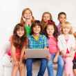 Kids in laptop with laptop — Stock Photo