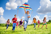 Active games for many kids — Stock Photo