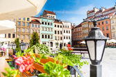 Calm old town square in Warsaw — Stock Photo